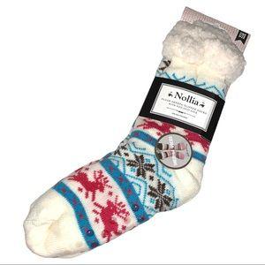 Nollia plush Sherpa slipper socks w nonskid sole